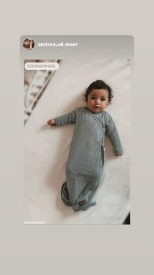 ORGANIC new born cocoon 0-3 months incl hat Forest Grey Stripe
