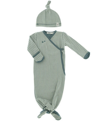 ORGANIC new born cocoon incl mutsje - 0-3 maanden Smokey Green