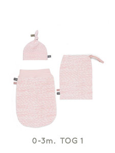 Set new born cocoon 0-3 months incl hat & bag in pink blizzard